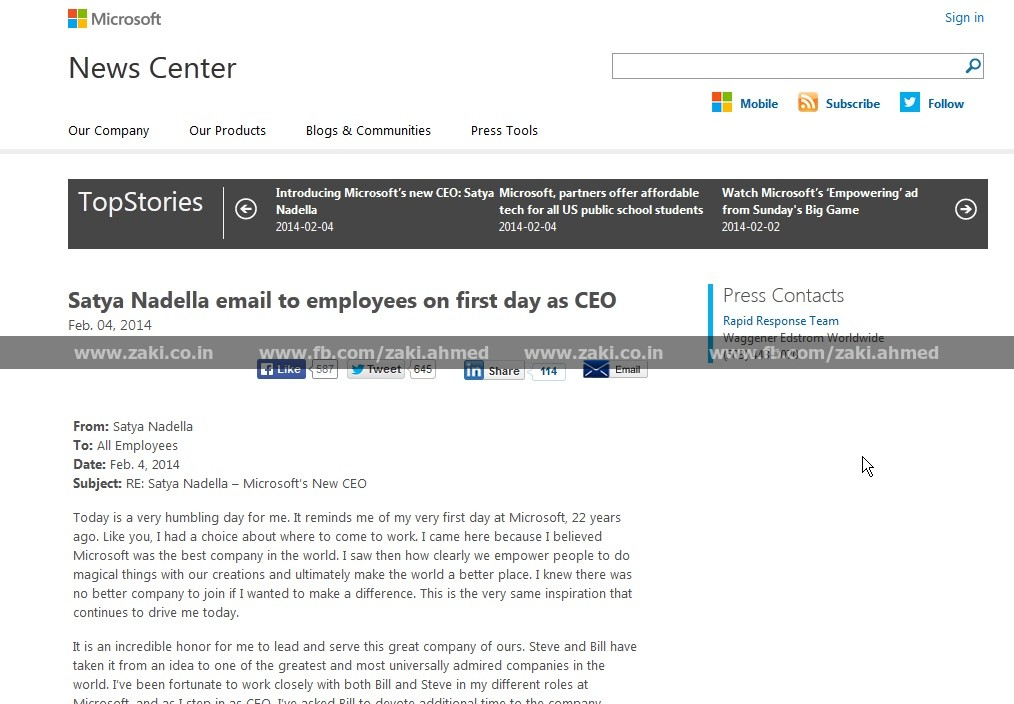 satya nadella email on first day